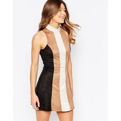 Girl In Mind Faux Suede Patchwork Hi-Neck Shift Dress ($41) ❤ liked on Polyvore featuring dresses, tan, patchwork dresses, white day dress, tan dress, tall shift dress and high neck shift dress