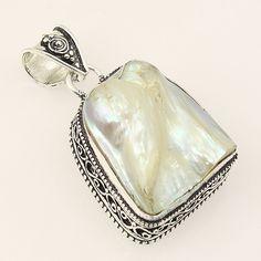 Dashing Biwa Pearl .925 Silver Handmade Hand Carving Pendant Jewelry ZA25 #Handmade