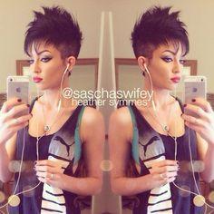 Women's faux hawk: heather symmes for some reason i find this hair cut cute! Cute Hairstyles For Short Hair, Trendy Hairstyles, Short Hair Cuts, Short Hair Styles, Sassy Hair, Edgy Hair, Haircut And Color, Hair Affair, Great Hair