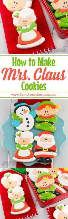 How to Make Mrs. Claus Cookies. Detailed tutorial on how to decorate sugar cookies with royal icing.   www.SemiSweetDesigns.com