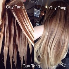 This is an example of what I call a #graduated #balayage #ombre ! The more I reapply the lightner, the hair becomes stonewashed and lived in , blonder, brighter and natural! I find that the hair gets blonder after each visit making a natural and graduated transition #guytang #balayage #hairpainting