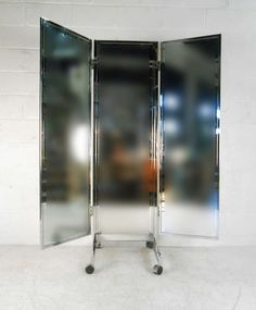 Vintage Mid-Century Modern Three-Panel Dressing Mirror   From a unique collection of antique and modern floor mirrors and full-length mirrors at https://www.1stdibs.com/furniture/mirrors/floor-mirrors-full-length-mirrors/