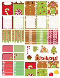 Printable Planner Stickers Gingerbread Man House by LaceAndLogos