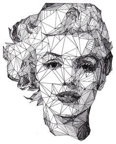 Geometric portrait of Marilyn Monroe Art And Illustration, Illustrations, Portrait Illustration, Arte Pop, Pop Art, Kreative Portraits, Design Art, Graphic Design, Blog Design