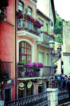Taormina balconies, Italy Messina Inspiration for Anne -