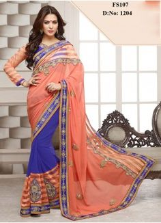 New Orange And Blue Designer Georgette Saree