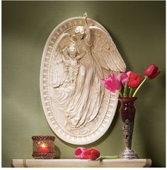 Angel Of Grace Bas Relief Wall Sculpture: Set Of Two By Design Toscano.