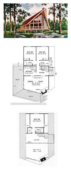 House Plan 90603 - A-Frame, Cabin, Contemporary Style House Plan with 1416 Sq Ft, 3 Bed, 2 Bath A Frame House Plans, Small House Plans, House Floor Plans, A Frame Floor Plans, Stone House Plans, Cabin Homes, Log Homes, Tyni House, House Bath