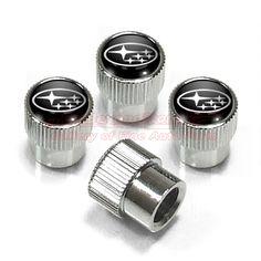 Cadillac Silver and Black Logo Chrome Tire Stem Valve Caps