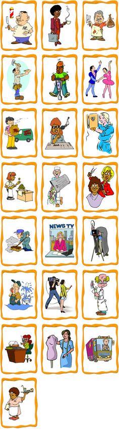 Kaartjes met beroepen. Op de site nog veel meer! http://www.eslflashcards.com/set/jobs-flashcards-intermediate/