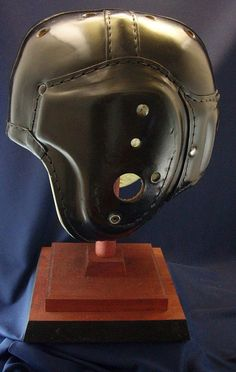SUPER JET BLACK MACGREGOR H612 VINTAGE LEATHER FOOTBALL HELMET | Sporting Goods, Team Sports, Football | eBay!