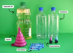 DIY Lava Lamp For Kids — Mom Printables - Simplifying Motherhood and Family Recipes Science Experiments Kids, Science For Kids, Activities For Kids, Stem Fair Projects, Lava Lamp For Kids, Lava Lamp Experiment, Home Made Hand Sanitizer, Homemade Lava Lamp, Colored Bubbles
