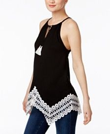 INC International Concepts Crocheted Handkerchief-Hem Top, Only at Macy's