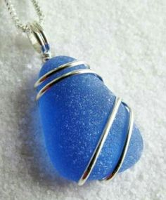 Blue Glass pendant in Sterling