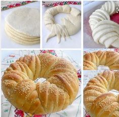 This Delicious Bread Wreath will be Wonderful for a High Tea Tea Recipes, Cooking Recipes, Recipes Dinner, Healthy Recipes, Mousse Au Chocolat Torte, Cream Cheese Coffee Cake, Chocolate Zucchini Bread, Bread Shaping, Bread Art