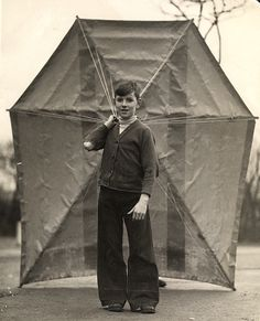 John Wilhelm with kite, 1930