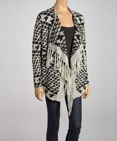 Loving this Gray Houndstooth Open Cardigan on #zulily, $40 !!  #zulilyfinds