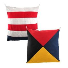 "Set Of 4 Nautical Flag 14"" By 14"" Throw Pillows: Amazon.com: Home & Kitchen"
