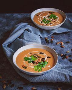 Feurige Süsskartoffel Suppe - Spicy Sweet Potato Soup recipe by Chipotle, Spicy Sweet Potato Soup, Vegan Recipes, Cooking Recipes, Latest Recipe, Vinegar, Curry, Velvet, Healthy