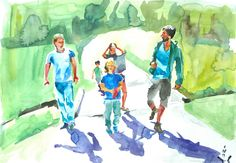 It´s a men´s world:) Watercolour, World, Painting, Men, Pen And Wash, Watercolor Painting, Watercolor, Painting Art, Paintings