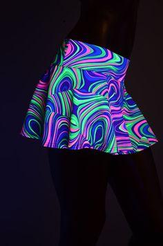 NEON Glow Worm UV Glow Print Circle Cut Mini by CoquetryClothing