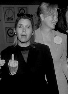 Carrie and Meryl Streep – The . is listed (or ranked) 2 on the list Here's A Bunch Of Pictures Of Carrie Fisher Flipping People Off Carrie Fisher Quotes, Carrie Frances Fisher, Starwars, Debbie Reynolds, Famous Movies, Rare Photos, Role Models, Foto E Video, Movie Stars