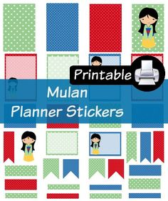 Disney Mulan Princess PDF PRINTABLE Planner Stickers Happy Planner Erin Condren Planner Filofax Plum Paper Decorating Kit by WhimsicalWende on Etsy