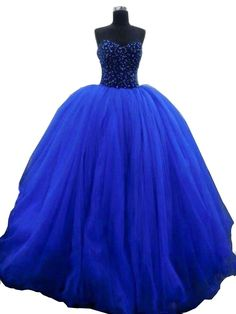 YinWen Women's Strapless Long Beading Floor Length Sweet 16 Birthday Party Prom Quinceanera Dress Size 16 US Royal Blue. Sweetheart,Strapless,Backless,Tulle. Ball Gown,Beaded,Sleeveless,Build in Bra. Great for Quinceanera,Sweet 16,Prom,Birthday Party, and Other Special Occasion. If you need a custom made size,you can send us your detail size: Bust, Waist, Hips and Hollow to Floor. Additional Petticoat is needed if you want the dress to be more puffy. Tulle Wedding Gown, Wedding Dress Train, Quinceanera Dresses, Prom Dresses, Formal Dresses, Wedding Dresses, Victorian Costume, Royal Blue Dresses, Sweet 16 Dresses