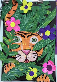 Grade Painted Paper Tiger Collage Elements of the Art Room: Grade Painted Paper Henri Rousseau and Cassie Stephens inspired Tiger Collage Matisse Kunst, Matisse Art, 3rd Grade Art Lesson, Third Grade Art, Grade 3 Art, Elementary Art Rooms, Art Lessons Elementary, Elementary Teaching, Upper Elementary