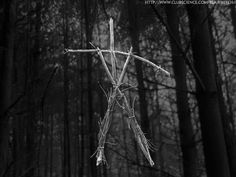 """The Blair Witch (since the Blair Witch is not a physical presence in the film, I have substituted the stick figures as a symbol) from """"The Blair Witch Project"""" (1999)"""