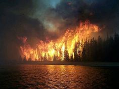Wildfire Reflecting in the Lake