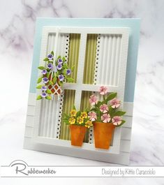 Window with Flowers card by Kittie Caracciolo