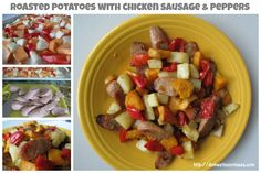 Roasted Potatoes with Chicken Sausage & Peppers - Domestic Contessa Sausage And Peppers, Stuffed Peppers, Easy Dinner Recipes, Easy Dinners, Chicken Sausage, Roasted Potatoes, One Pot Meals, Dairy Free Recipes, Clean Eating