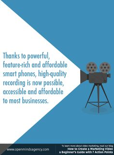 Thanks to powerful, feature-rich and affordable smart phones, high-quality video recording is now possible, accessible and affordable to most businesses. To learn more about video marketing, read our blog: [Click on the image] #omagency #video #marketing
