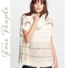 Free People Snow Bunny FairIsle Sweater Adorable soft and cuddly sweater in a pretty Ivory FairIsle pattern, cap Sleeves, Rolled Neck, longer style with side slits, perfect over leggings or skinnies.... Free People Sweaters