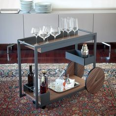 The Cattelan Italia Brandy Trolley from Lime Modern Living. Find a range of contemporary furniture from leading designer brands Bar Trolley, Drinks Trolley, Wood Plane, Bar Cart Styling, Italia Design, Interior Design Services, Contemporary Furniture, Furniture Design, Furniture Showroom