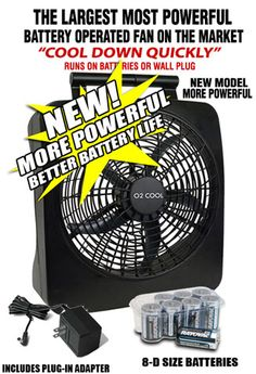 This Large Portable Battery Operated Fan Is The Only Way To Keep Cool When The Power Goes Out! Without air conditioning - day or night - hot and muggy is no way to spend the summer. This powerful fan is the strongest blowing fan on the market and will most definitely keep you and your family cool. It operates on battery power, or an AC 120 volt wall adapter. This fan is very portable and can easily be stored under a bed or in a closet.