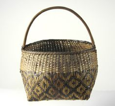 19th c. Cherokee hoop handled basket, red, brown and tan caning.