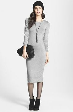 Leith Jersey Body-Con Midi Dress available at #Nordstrom like it in black