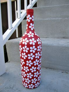 Items similar to Large Red Floral Inspired Upcycled Glass Bottle on Etsy i think this is a fabulous valentine gift! Empty Wine Bottles, Wine Bottle Art, Painted Wine Bottles, Diy Bottle, Glass Bottles, Decorated Bottles, Wine Glass, Wine Craft, Glass Bottle Crafts
