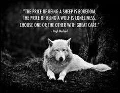 """Actually, a wolf travels in a pack-- there are plenty of people willing to be brutal for dominion over others. The one who is truly lonely is the Shepherd. Leading in kindness might get you the respect of the sheep, but it's not companionship. """"And Jesus said unto him, Foxes have holes, and birds of the air have nests; but the Son of man hath not where to lay his head."""" (Luke 9)"""