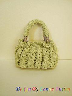Vintage Green Mint Crochet gestire borse verde menta borsetta verde menta verde menta Tote verde sveglio della borsa (N57)