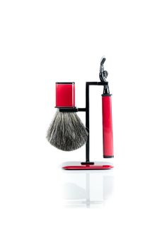 Wilouby Axwell USA Shaving Set RBS Series: 2 Tone Red/Black Finish