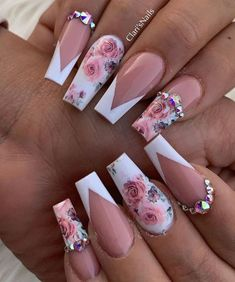 Acrylic nails with rhinestones acrylnägel mit strasssteinen ongles en acrylique avec strass uñas acrílicas con p. Almond Acrylic Nails, Summer Acrylic Nails, Best Acrylic Nails, French Tip Acrylic Nails, Black Acrylic Nails, Nail Summer, Simple Acrylic Nails, Square Acrylic Nails, Blue Nails