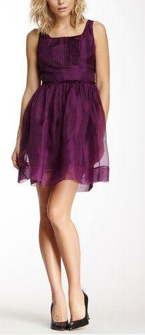 Purple Sleeveless Silk Dress