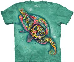 A tie dye shirt dyed in ocean colors with an intricate sea turtle on the front.