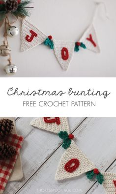 A free crochet pattern of a Christmas Bunting. Do you also want to crochet this bunting? Read more about the Free Crochet Pattern Christmas Bunting. Crochet Christmas Garland, Crochet Garland, Christmas Bunting, Crochet Decoration, Christmas Crochet Patterns, Holiday Crochet, Crochet Home Decor, Crochet Crafts, Crochet Yarn