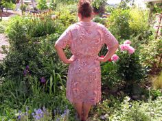 1970s Dusty Rose Ginkgo Leaves Day Dress by Sy by OsoVictoria, $38.00