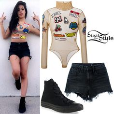 Camilla Cabello posed for snapchat at CBS Radio's #SPFVegas wearing a GCDS Patch Bodysuit ($198.59), Alexander Wang Destroyed Denim Shorts ($200.00) and Converse Chuck Taylor All Star Hi-Sneakers ($54.95).