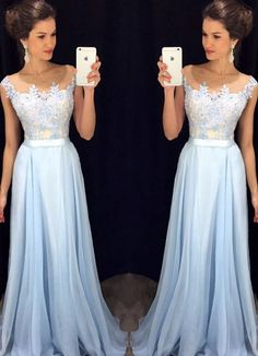 Elegant Prom Dress,A Line Prom Dress,Light Blue Chiffon Prom Dress,Formal…